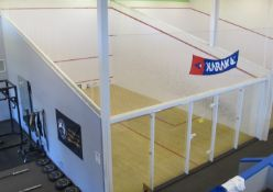 Anderson Courts Regulation Squash Court w/ wood flooring, plexiglass viewing, netting, Approx. 20' x