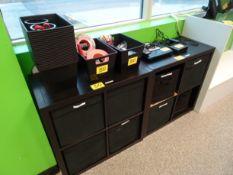 (3) Black four bin storage shelves w/ assorted contents