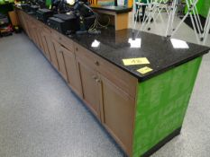 """Granite Top service and storage cabinet counter 26"""" x 26' w/contents"""