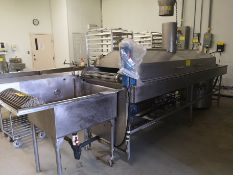 POSS DESIGN 0011-24 CONTINUOUS COOKER, 40KW, 220V W/ COOKING/MIXING KETTLE AND COOLING HOPPER,