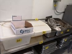 LOT ASST. TRAYS, SIEVES, PLASTIC CONTAINERS