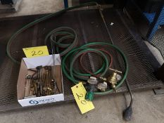 BLOW TORCH W/VICTOR EQUIPMENT GAUGES, POWERWELD HOSE, ASSORTED ATTACHMENTS