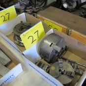 """LOT OF (2) BOXES OF 3-JAW CHUCKS (5"""" AND 7"""") W/ BACKING PLATES AND SPARE JAWS"""