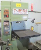 T-JAW 500 VERTICAL BANDSAW W/ BLADE WELDER, COMPOUND TABLE