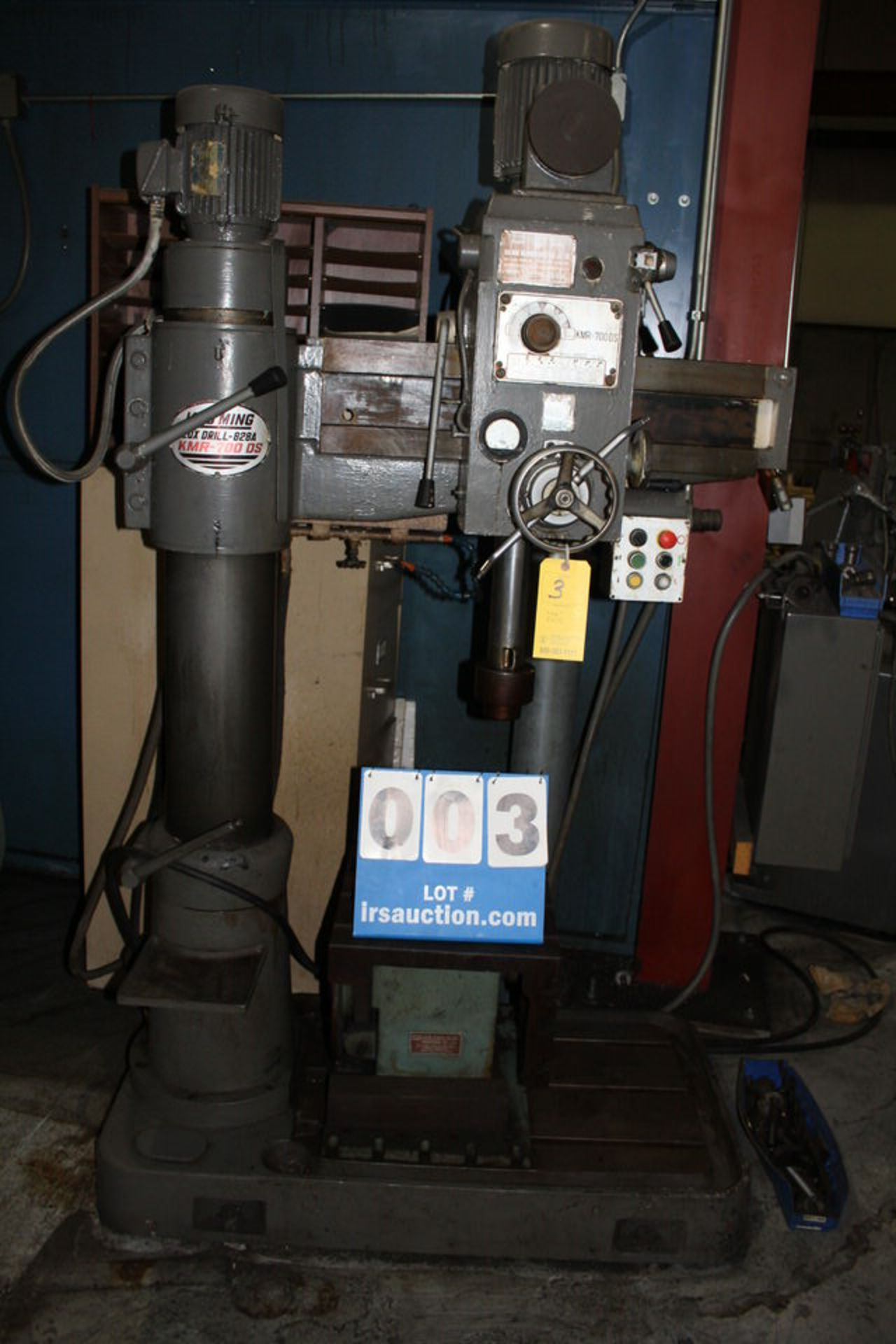 """Lot 3 - KAO MING RADIAL ARM DRILL, MDL : KMR-700 DS, LUX DRILL 828A, 3' HEIGHT, 3' ARM, 30"""" TRAVEL, 8"""""""