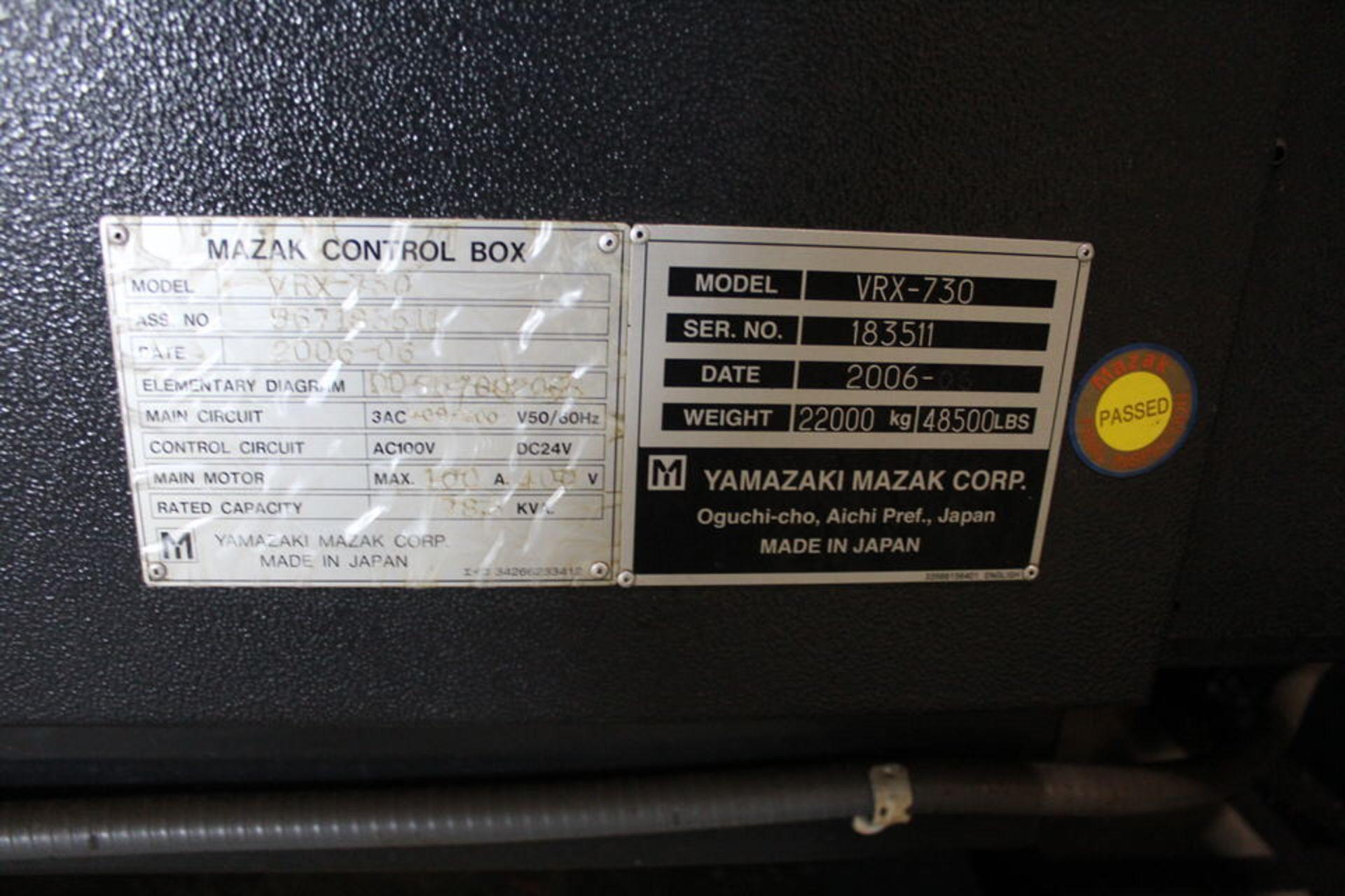 Lot 12 - 2006 MAZAK VRX-730-5X, MAZATROL 640M 5X CONTROL, 80 ATC
