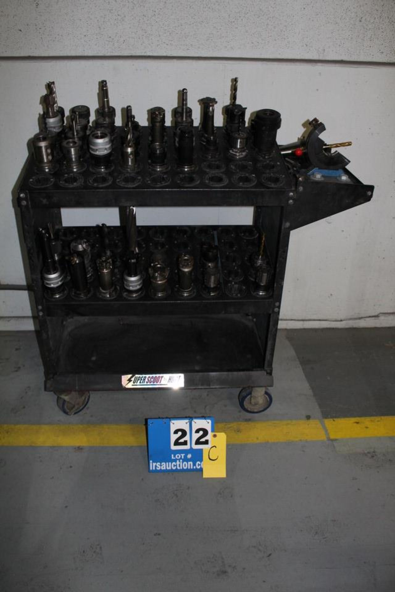 Lot 22C - SUPER SCOOT TOOL CART W/ APPROX 40 CAT 40 TOOL HOLDERS & ASSORT TOOLS