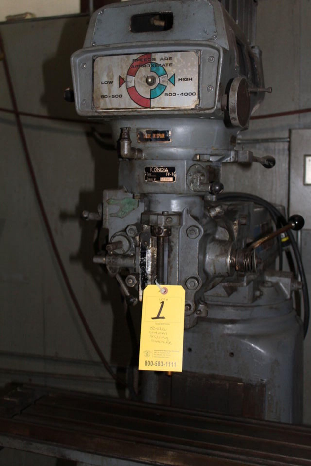 "Lot 1 - KONDIA MDL:FV-1 VERTICAL MILLING MACHINE, 9"" X 42"" TABLE, POWERFEED"
