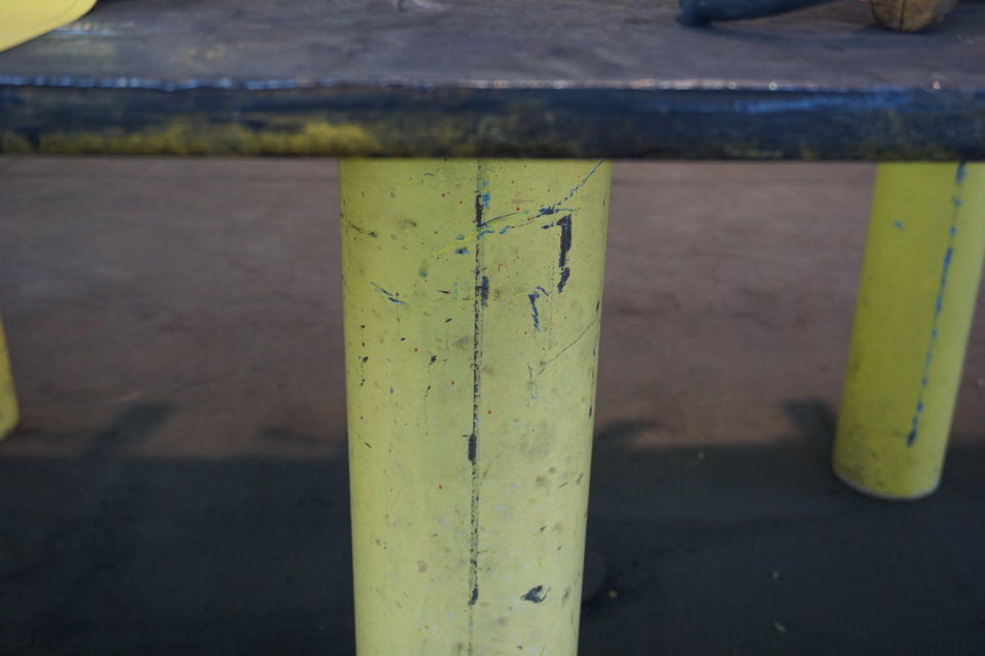 """Lot 26 - STEEL WORK TABLE 5' X 5' X 37"""" TALL"""