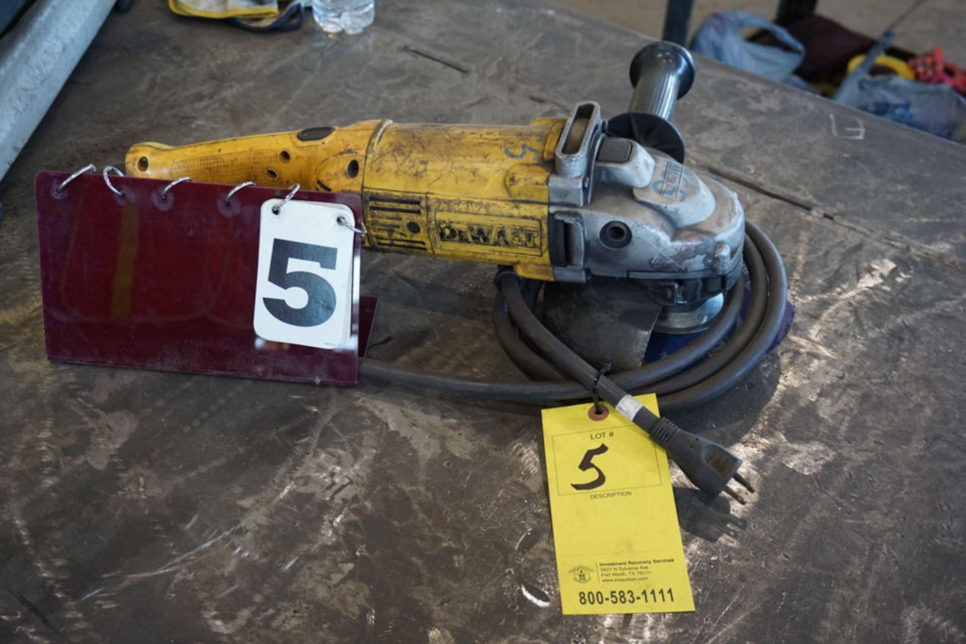 """Lot 5 - DEWALT 9"""" ELECTRIC HAND GRINDR"""