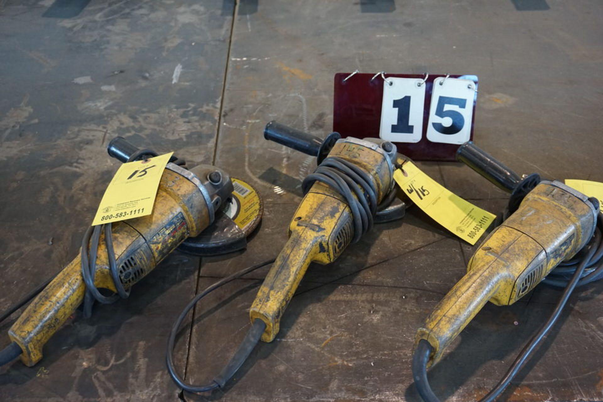 "Lot 15 - (3) DEWALT 7"" ELECTRIC HAND GRINDERS"