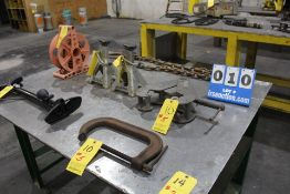 """CONT OF TABLE: DOUBLE HOOK CHAIN, JET BEAM CLAMP, 10"""" C CLAMP, (2) AC DELCO MECHANIC STANDS, ELEC"""
