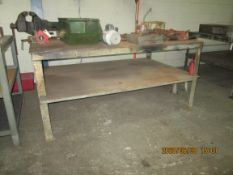 "Shop Table with Vise: 72"" x 45"" x 34"" - 1/8"" metal top, 1 shelf"
