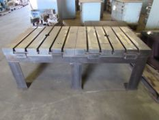 "T-Slotted Table: (2) 36"" x 36"" T-Slotted tables on steel table base, each table; 36"" x 36"", 5 T-Slo"