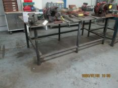 "Shop Table: 96"" x 49"" x 37"" Heavy Duty with vise, 3/8"" solid metal top, 1 drawer, tubular legs."