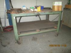 "Shop Table: 60"" x 36"" x 37"" Heavy Duty with vise, 1"" solid metal top, on casters"
