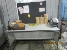Shipping Dept. Table, Back Board, Tape Dispenser, Paper Holder, and Supplies