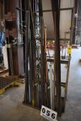 VERTICAL PIPE RACK W/ CONT: ASSORT BLACK IRON PIPE, ALL THREAD & COPPER