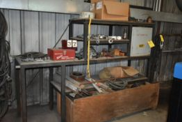 CONTS OF SHELF: WELDING ROD, COME A LONGS, SHACKLES
