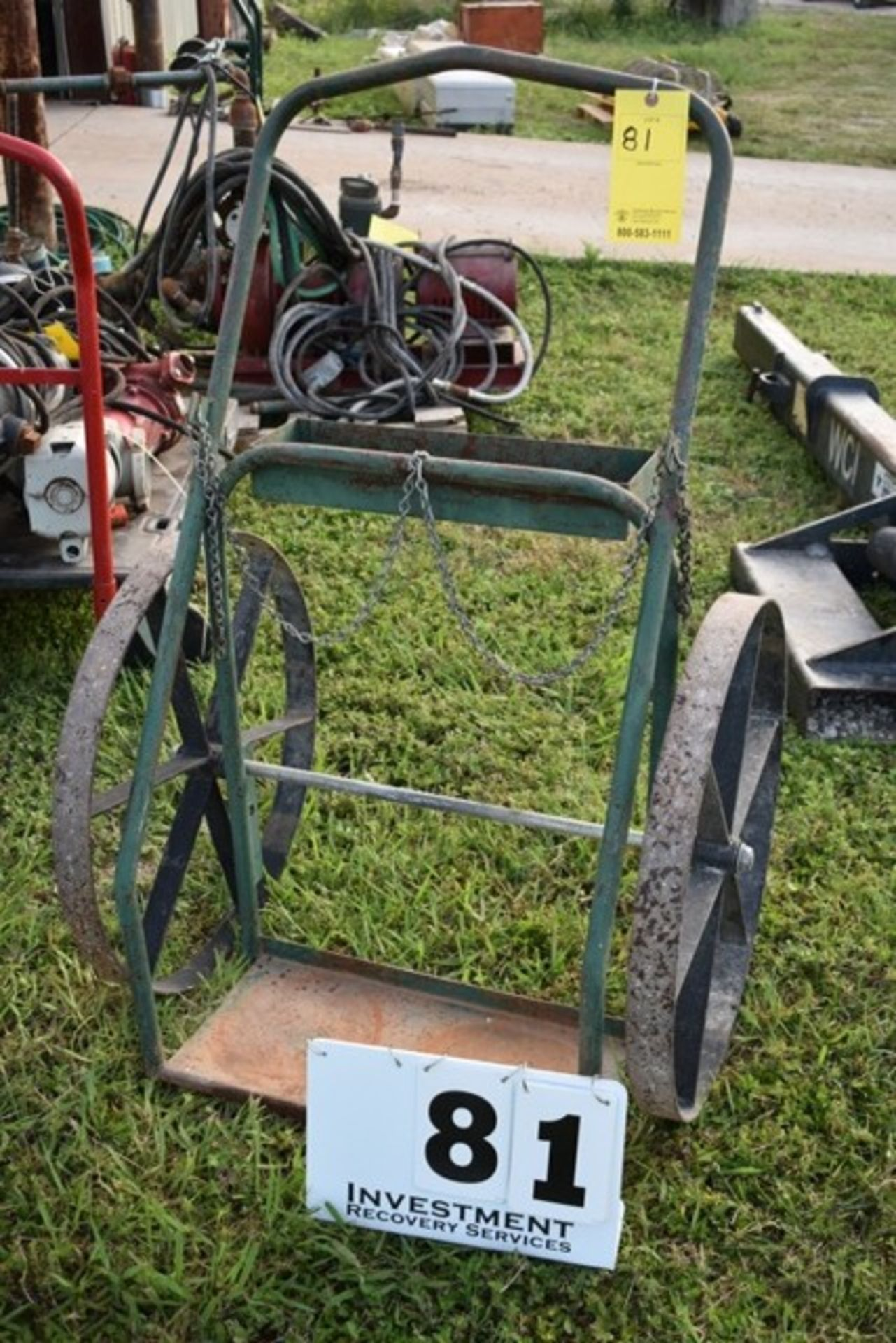 Lot 81 - OXY/ACETELENE CART W/ LARGE STEEL WHEELS