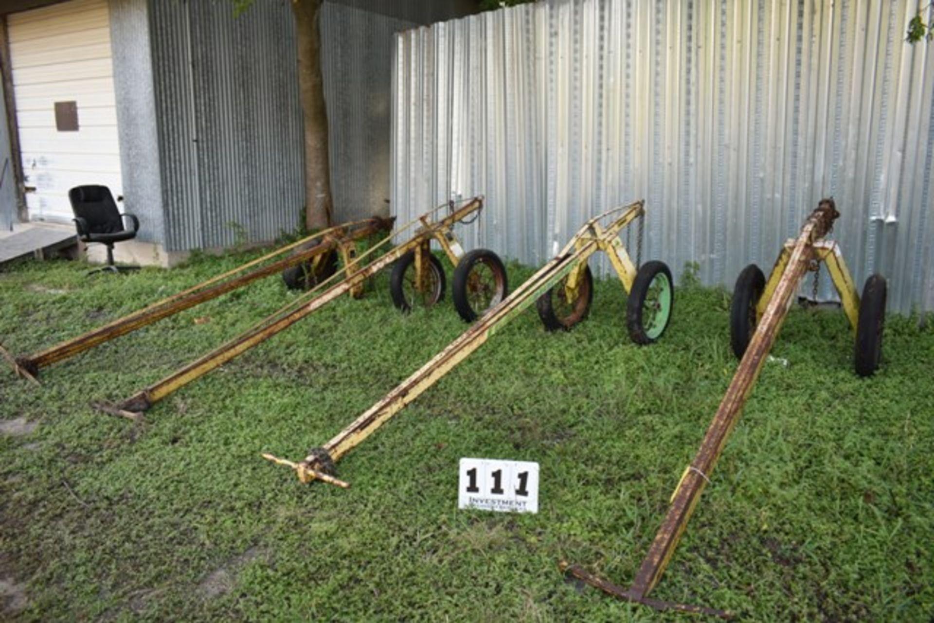 Lot 111 - (4) GRASSHOPPER PIPE DOLLIES, (1) MISSING WHEEL