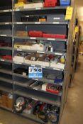 CONT OF 2 SETS OF METAL SHELVING, ASST MICROMETERS, CALIPERS, PROTRACTORS, LEVELS, CASTORS, GEAR