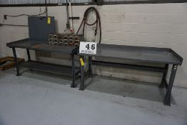 (2) METAL WORK BENCHES W. 18 DRAER PARTS CABINET