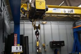 HSC COMPLETE SELF SUPPORTING BRIDGE CRANE SYSTEM, 5 TON ELECTRIC HOIST, APPROX 16' X 30' X 10' TALL