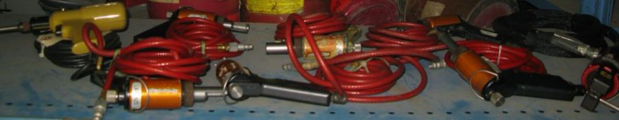 Pnematic cleco pullers and a pneumatic wire crimp tool