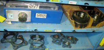 Hydraulic tank, gears, bearing boss, plus misc shelf contents
