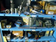 Brake clutch, couplings hydrulic valves, ball screww, plus misc misc parts, shelf contents