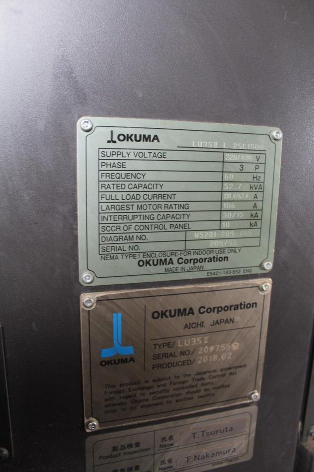 2018 OKUMA LU35II X 1500MM DUAL TURRET CNC LATHE - Image 11 of 12