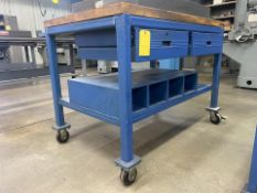 """48"""" x 30"""" Rolling Shop Table with 2 Drawers"""