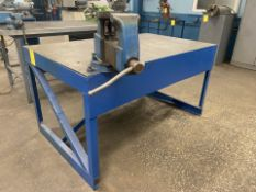 """60"""" x 36"""" HD Metal Shop Table with Columbian Rotating Vise"""