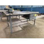 """72"""" x 36"""" Metal Shop Table with 2 Drawers and Vise"""