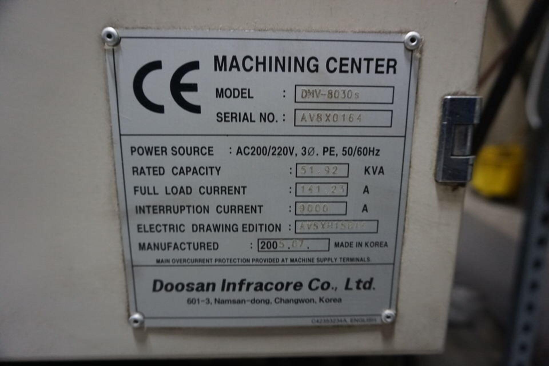 DAEWOO DMV8030S VERTICAL MACHINING CENTER (ASST#:P345105) - Image 5 of 10