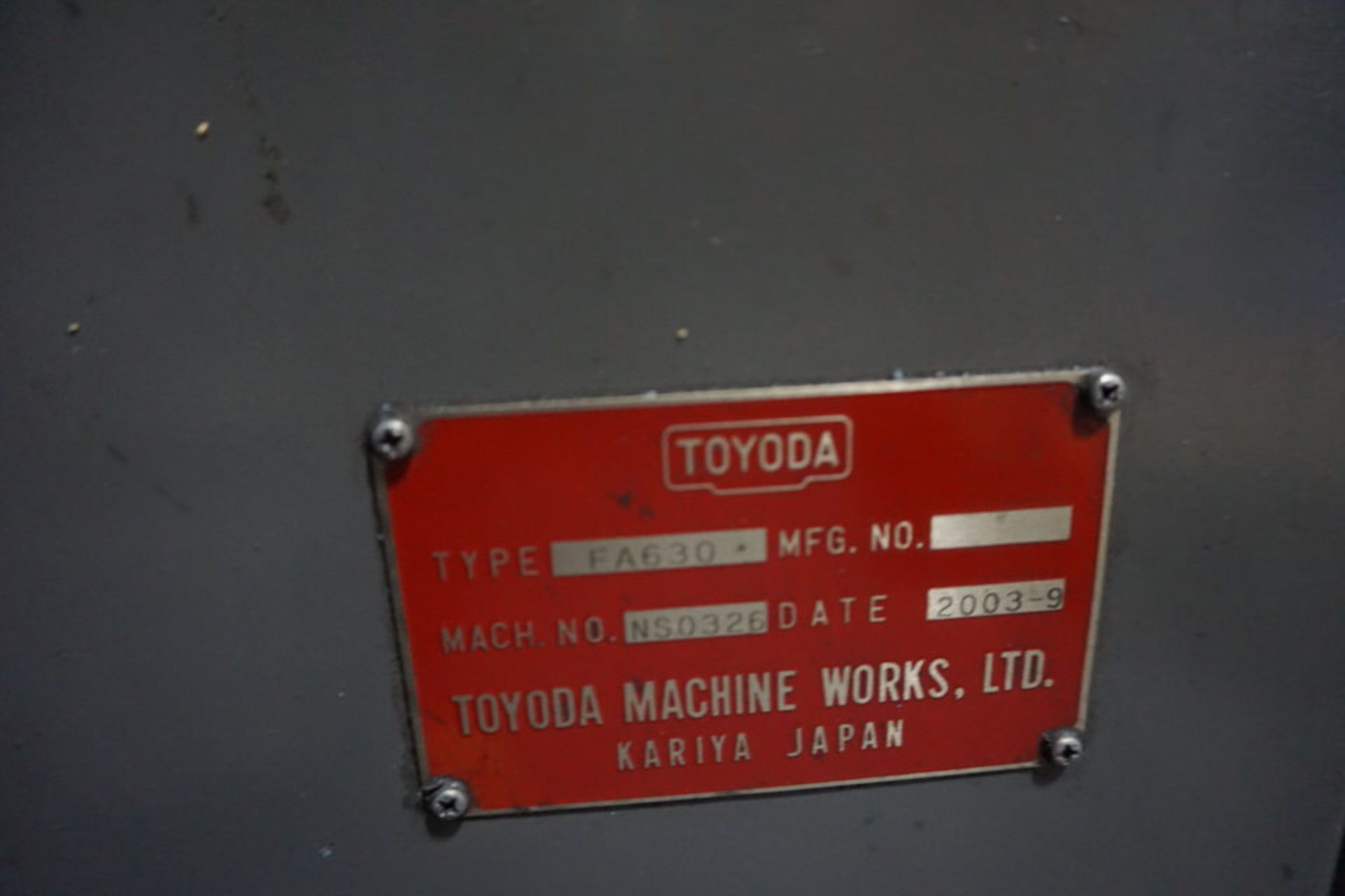 TOYODA FA630 HORIZONTAL MACHINING CENTER, DOM: 2003 (ASST#:P0150104) - Image 9 of 10