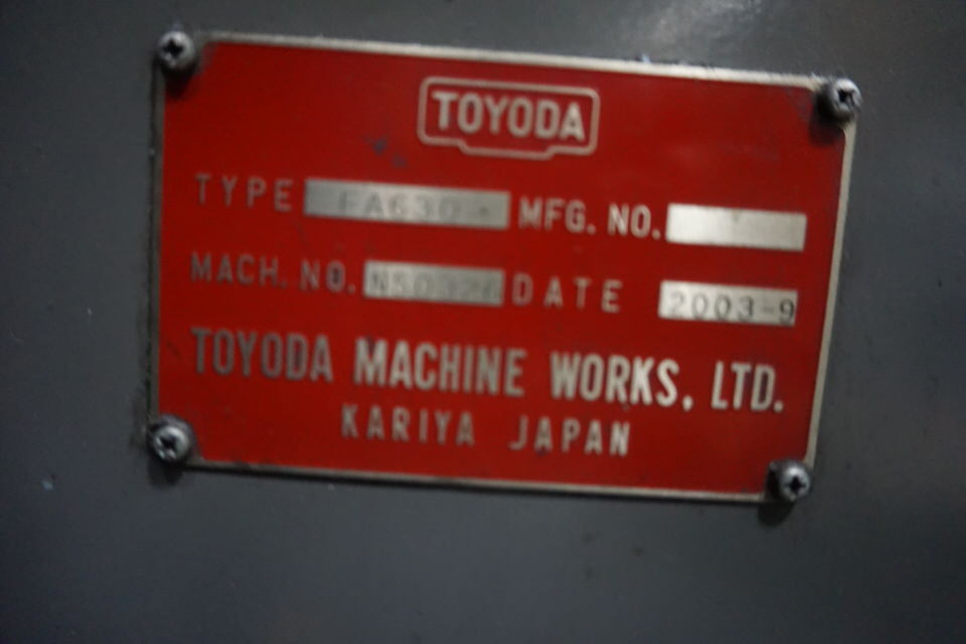 TOYODA FA630 HORIZONTAL MACHINING CENTER, DOM: 2003 (ASST#:P0150104) - Image 10 of 10
