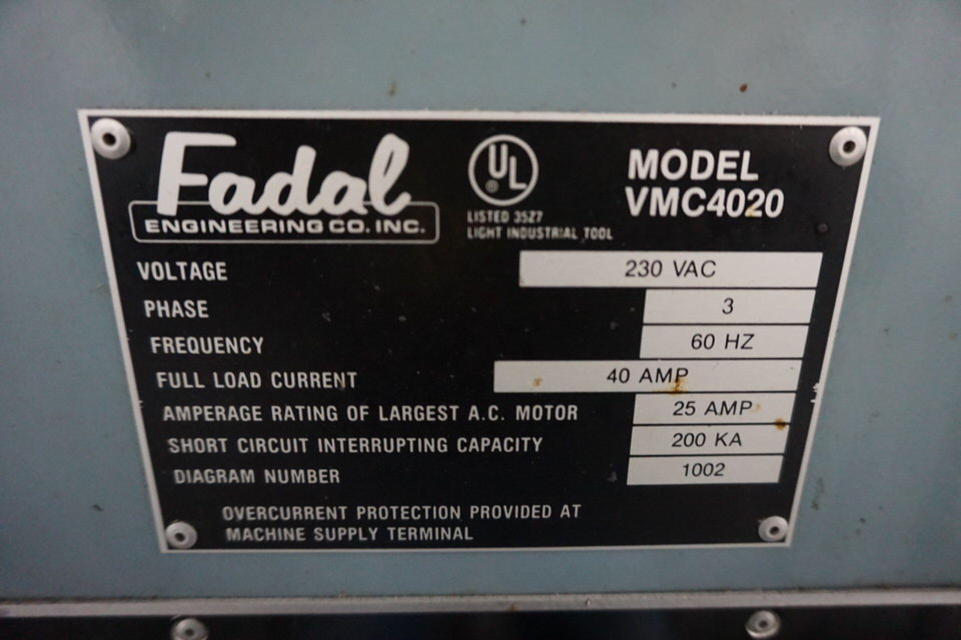FADAL 4020 VERTICAL MACHINING CENTER W/ FADAL CNC 88 CONTROL - Image 6 of 8