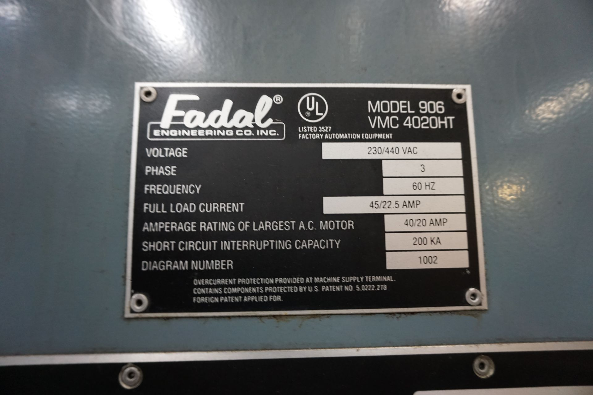 FADAL VMC4020 VERTICAL MACHINING CENTER - Image 9 of 11