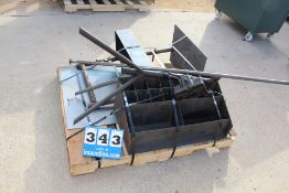 CONT OF PALLET: MACHINE VICE, PIPE ROLLER STAND, METAL ORGANIZER