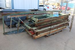 DISASSEMBLED PALLET RACKING, 4' X 14' UPRIGHTS, 10' CROSS BEAMS