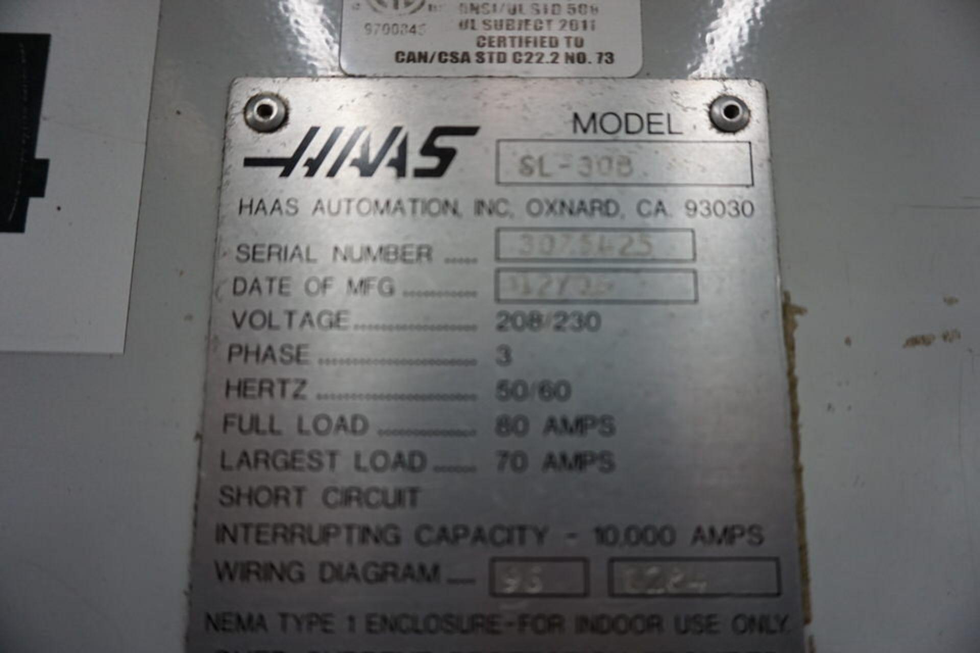 HAAS DOUBLE CHUCK SL-30B CNC LATHE W/ (2) 3 JAW CHUCK, 12 STATION TURRET & HAAS CNC CTRL - Image 6 of 6