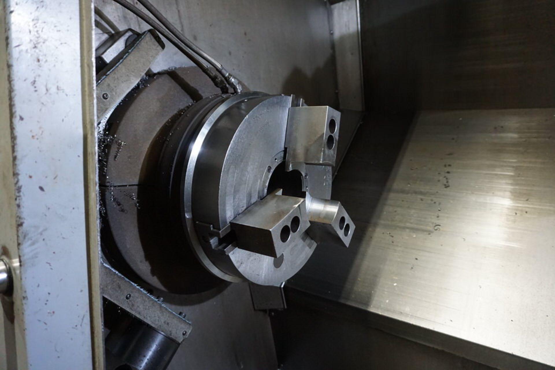 HAAS DOUBLE CHUCK SL-30B CNC LATHE W/ (2) 3 JAW CHUCK, 12 STATION TURRET & HAAS CNC CTRL - Image 3 of 6
