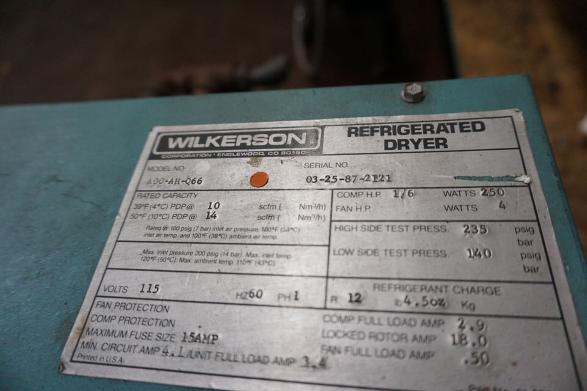 WILKERSON REFRIGERATED DRYER, MDL: A00-AH-Q66 - Image 3 of 3