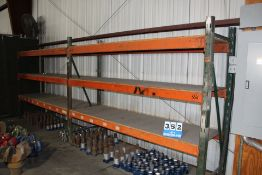 """(2) SECTIONS PALLET RACK, 8' X 32"""" UPRIGHTS, 9' CROSSBEAMS"""