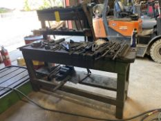 Wooden Work Table with Contents (tooling)