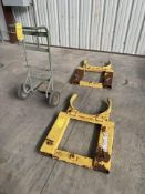 Lot of 3:(2) Wesco Fork Mounted Drum Grabs capacity 1500 # each; (1) Barrell Cart