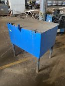 Lot of 4: (3) Metal Shop Cabinets, (1) Metal Shop Table with Vise