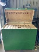Wooden Tool Box with Holes for Holding Tools (green)